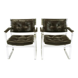 Pair Karl-Erik Ekselius Leather and Aluminum Mondo Armchairs For Sale