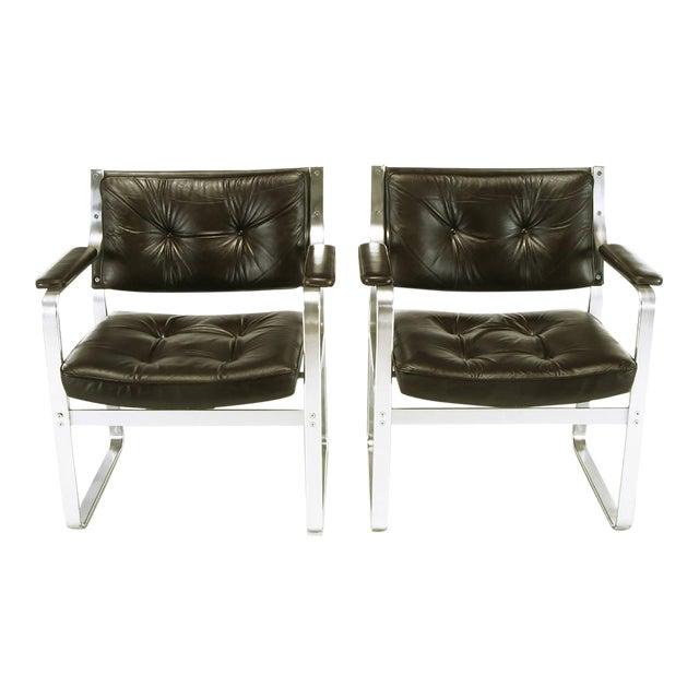 Pair Karl-Erik Ekselius Leather and Aluminum Mondo Armchairs For Sale