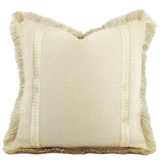 Lee Jofa Jopu Sand and Gold Fringe Pillow Cover For Sale