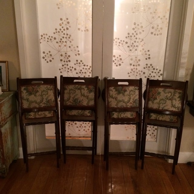 Vintage Victorian Style Campaign Parlor Chairs - Set of 4 - Image 6 of 11