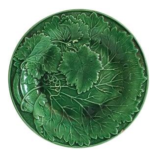 Antique Emerald Green Majolica Plate
