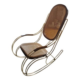 Italian Brass & Cane Rocking Chair For Sale