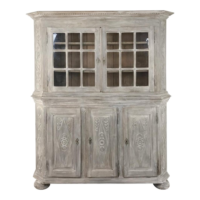 19th Century Country French Rustic Whitewashed Bookcase ~ Cabinet For Sale