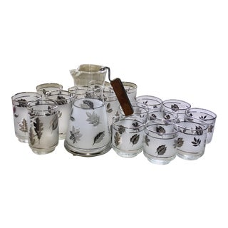Libbey Silver Foliage Glasses and Karafe Mid Century For Sale