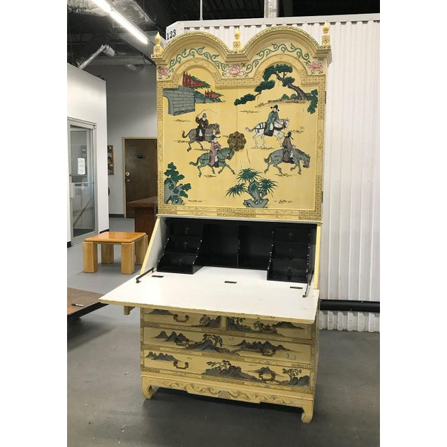 1970s Vintage Chinoiserie Hand-Painted Secretary For Sale - Image 5 of 12