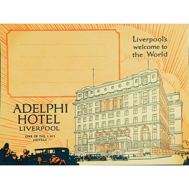 Boho Chic Vintage Luggage Label, Adelphi Hotel Liverpool England For Sale - Image 3 of 3