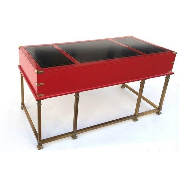 Vintage Campaign Style Writing Table/Desk Lacquered in Red For Sale - Image 9 of 11