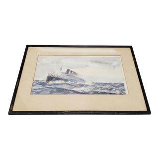 """Bernard Lachevre (France, 1885-1950) Original """"Steamship"""" Watercolor Painting C.1930 For Sale"""