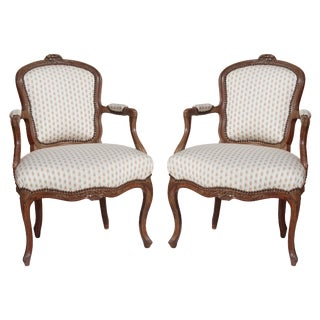 18th Century Antique French Louis XV Style Bergere Chairs - a Pair For Sale