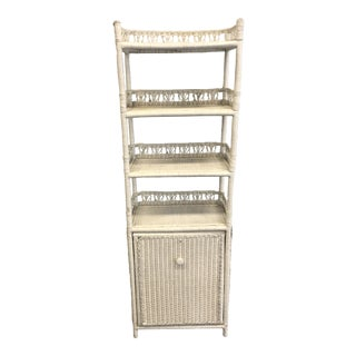Mid Century Boho Chic White Wicker Bookcase With Hamper Bottom For Sale