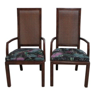 1980s Henredon Scene One Campaign Dining Room Arm Chairs - a Pair For Sale