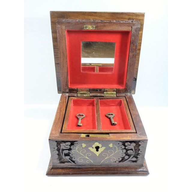Vintage Moroccan Style Hand Carved Inlay Wood Box W Key - Image 8 of 11