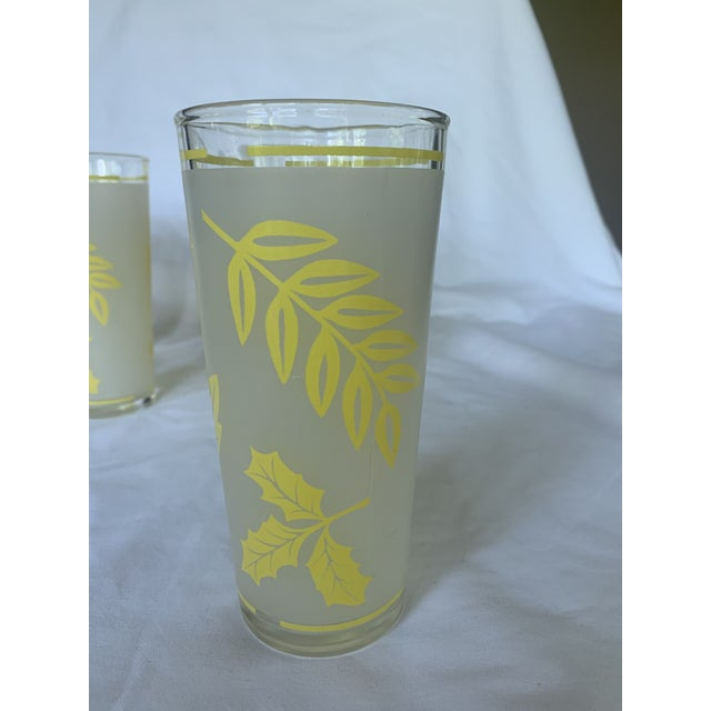 Libbey Glass Co. Vintage Libbey Yellow Frosted Tumbler Glasses- Set of 6 For Sale - Image 4 of 6