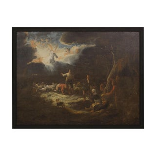 "17th Century Baroque Landscape Painting ""Annunciation to the Shepherds"" by Benjamin Cuyp For Sale"