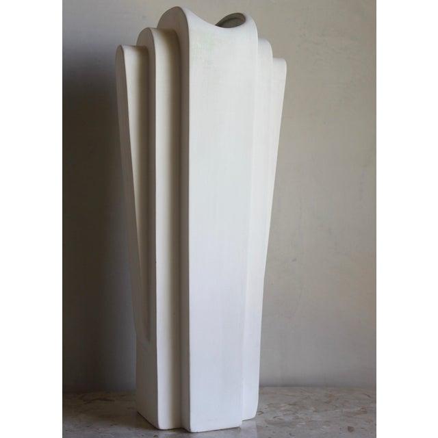 Art Deco Vintage Mid Century Art Deco Machine Age Bisque Vase For Sale - Image 3 of 11
