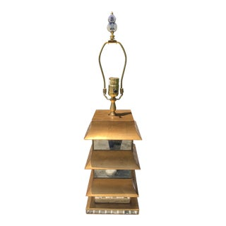 Mirrored Pagoda Lamp With Carved Finial For Sale