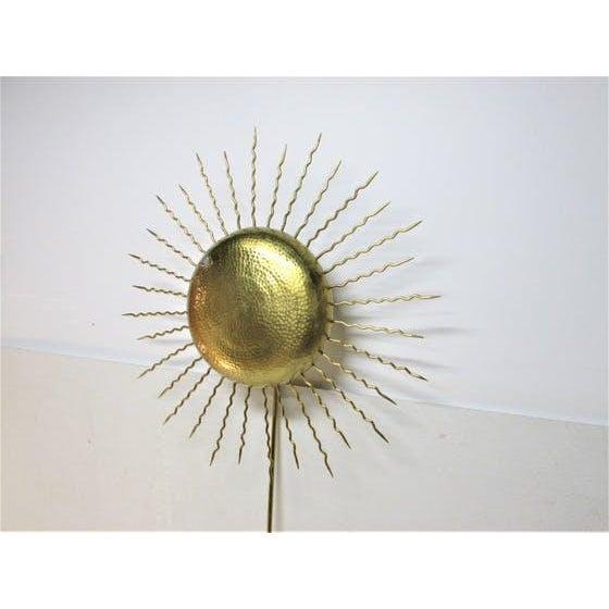 Vintage Hammered Brass Sunburst Sconce - Image 3 of 5