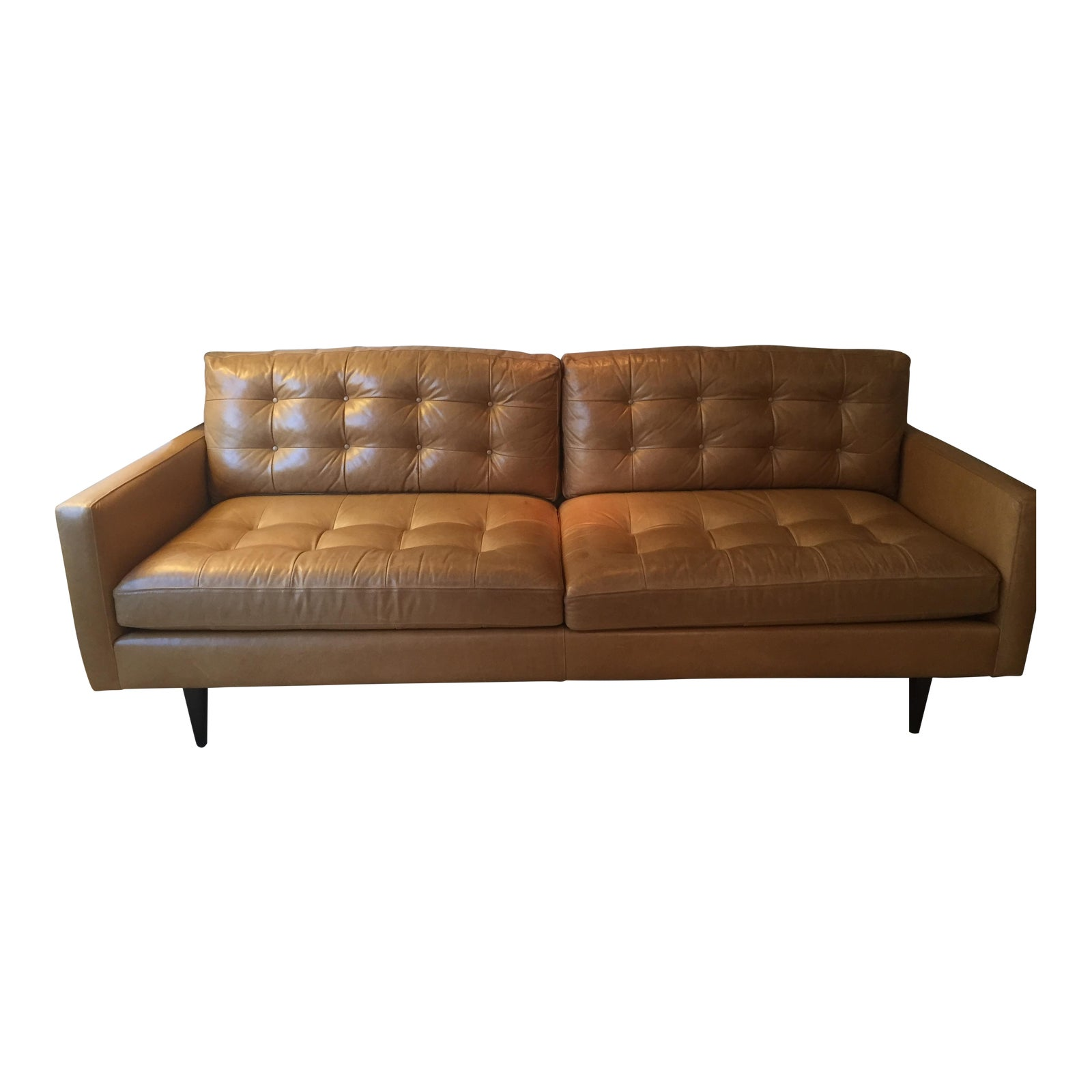Crate barrel petrie leather sofa chairish