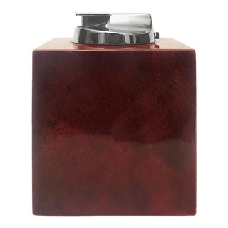 1970s Italian Aldo Tura Red Lacquered Goatskin and Nickel Lighter For Sale