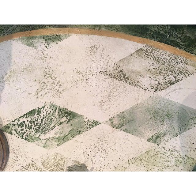 "Round Spanish Green Metal Dining Table Hand painted diamond patina h.30"" x dia.58"""
