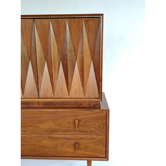Albert Parvin Sculptural Diamond Front Highboy Dresser For Sale - Image 4 of 9