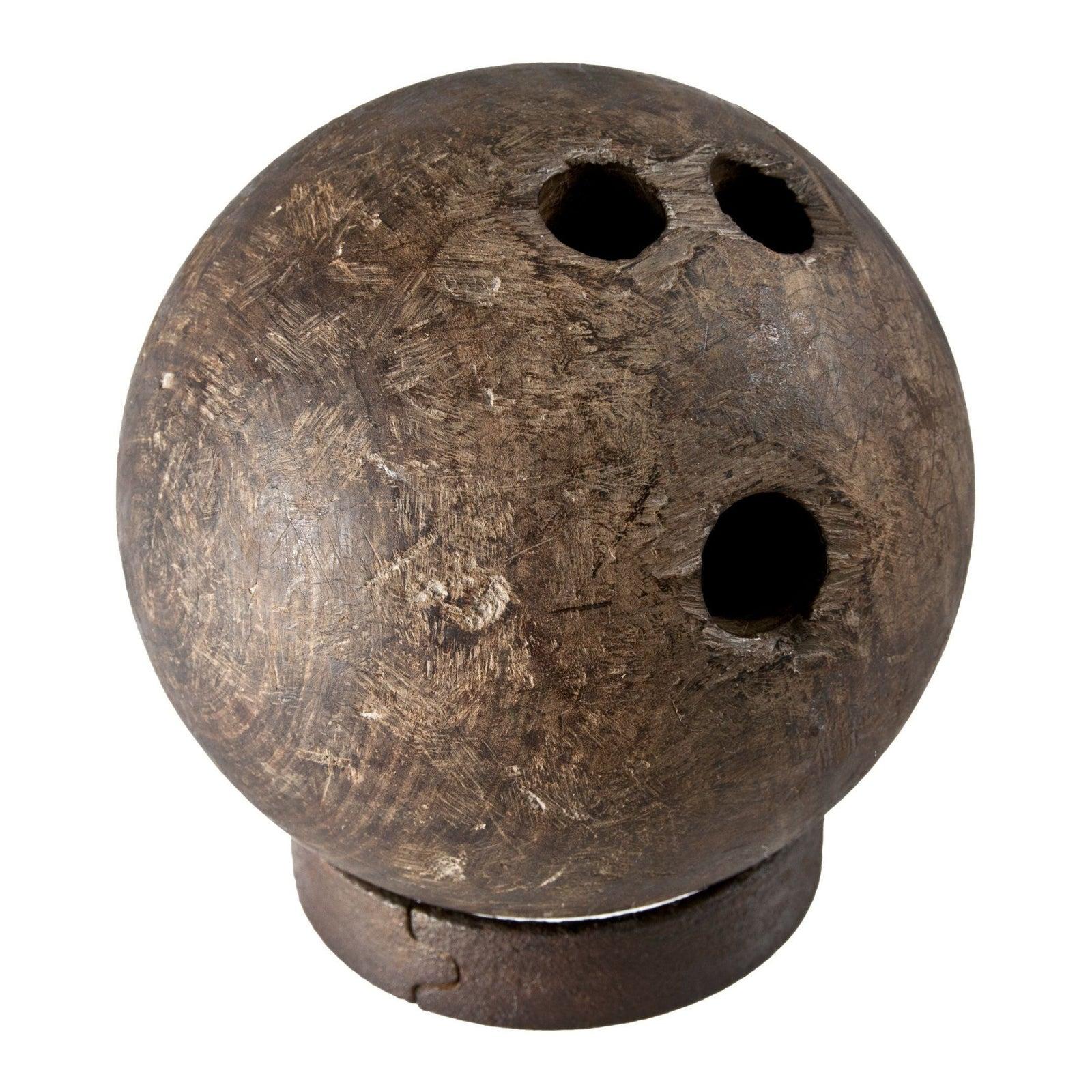 1800s Rare Antique Lignum Vitae Wood Bowling Ball Chairish