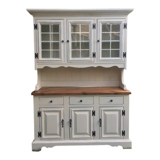 1970s French Country Farmhouse Hutch For Sale