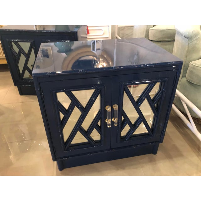 Vintage Chinese Chippendale Navy Lacquered Mirror Lucite Brass Nightstands Chests -A Pair For Sale - Image 9 of 13