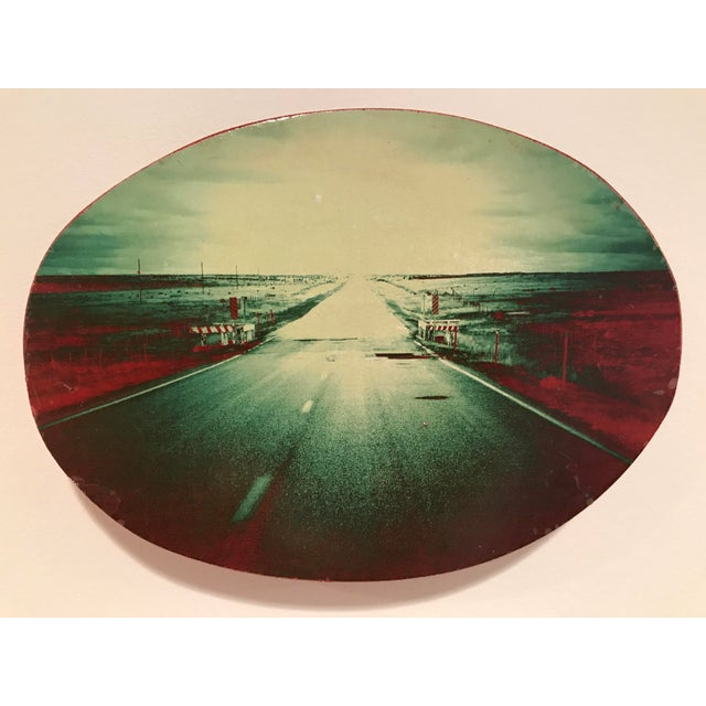Kate Banere, untitled, print on solid round block of wood, edges painted red. Unique modern piece!