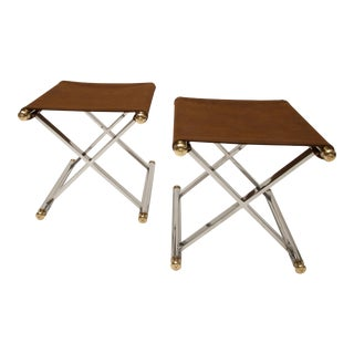 Pair of Hollywood-Regency X-Base Stools, Polished Chrome, Brass and Faux Suede For Sale