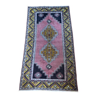1980s Rose and Gold Turkish Rug - 3′8″ × 6′7″ For Sale