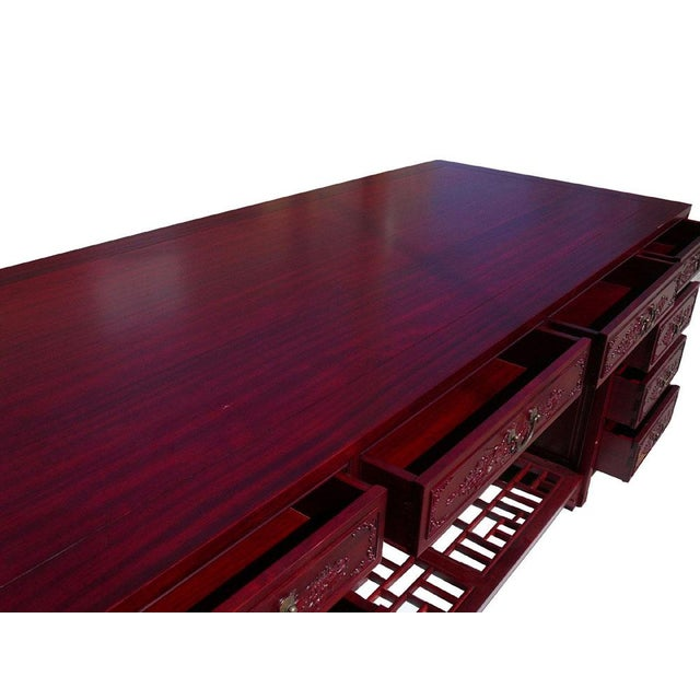 Long Rosewood Oriental Motif Office Desk/Table For Sale In San Francisco - Image 6 of 7