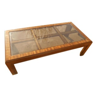 Mid-Century Burl Wood & Brass Coffee Table For Sale