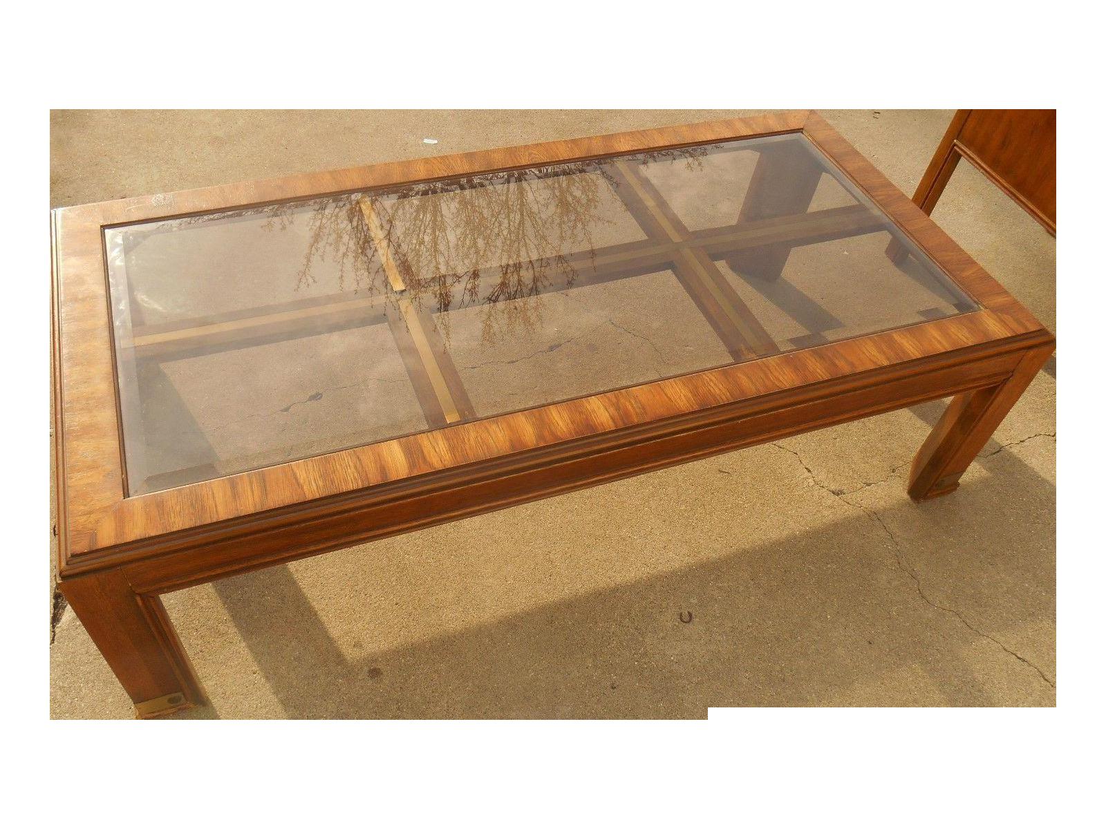 Mid Century Burl Wood U0026 Brass Coffee Table   Image 1 ...