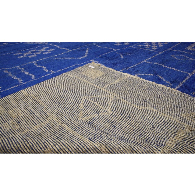 Blue New Contemporary Blue Moroccan Area Rug With Modern Bauhaus Style - 12'4 X 15'3 For Sale - Image 8 of 10