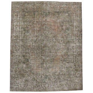 20th Century Rustic Farmhouse Style Distressed Persian Tabriz Area Rug For Sale