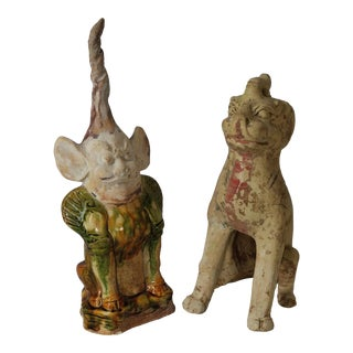 Chinese Tomb Guardian Figures - a Pair For Sale