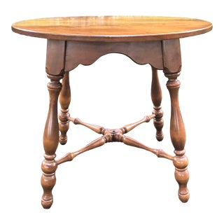 Ethan Allen Round Baumritter Accent Table For Sale