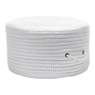 Ticking Fabric Gray Stripe Pouf