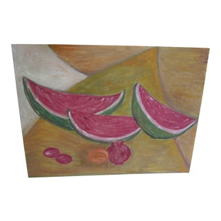 Mid-Century Still Life Painting of Watermelon and Pomegranate For Sale
