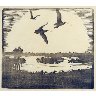 Wetlands Landscape Woodcut by Carl Olof Petersen For Sale