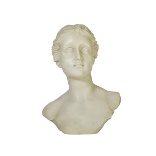 Vintage Handmade Carved Mid Century Roman Greek Woman Bust Sculpture For Sale