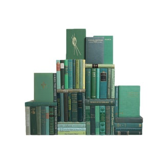 Mid-Century Green Book Wall - Set of 50 For Sale