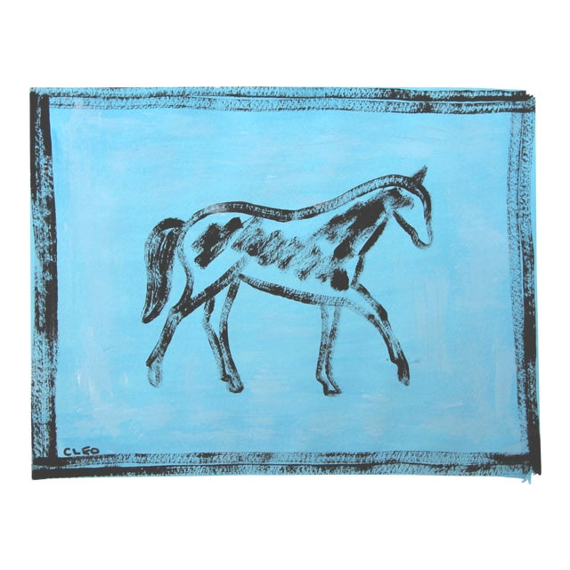 Abstract Black Horse Painting on Sky Blue by Cleo Plowden For Sale