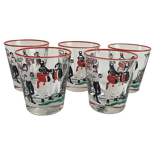 Mid-Century Illustrated Bar Glasses - Set of 10 - Image 3 of 7