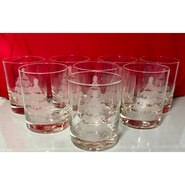Vintage Decorated Holiday Tree Glasses Frosted and Etched - Set of 8 For Sale - Image 4 of 5
