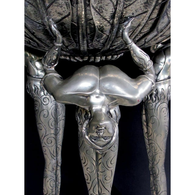 Art Deco A Stunningly Large Italian Art Deco Style Piero Figura Pewter Centerpiece Stamped 'Figura Piero Per Atena, Etain 95% For Sale - Image 3 of 9