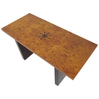 Inlaid Burl Wood and Macassar Bench or Occasional Table by Andrew Szoeke For Sale