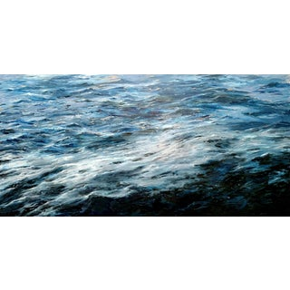 """Beckham Oil Painting, """"Blue Water 2018"""", 72 X 36 In. Cradled Panel For Sale"""