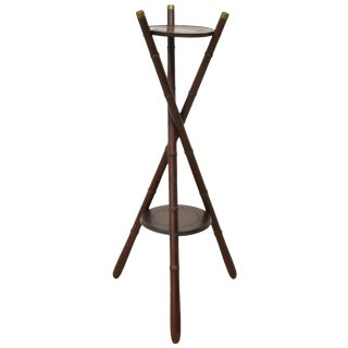 Antique French Aesthetic Faux Bamboo Two Tier Stand For Sale